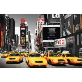 Affiche Poster Plastifié NEW YORK TAXI TIME SQUARE