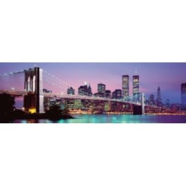 Affiche Poster Plastifié NEW YORK PONT DE BROOKLYN COULEUR FORMAT PANORAMIQUE